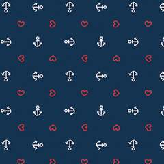 Napkin 33 Anchor Heart Blue