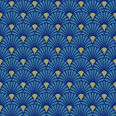 Napkin Lunsj Art Deco Blue Gold