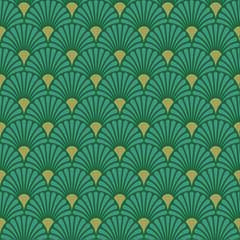 Napkin 33 Art Deco Green Gold