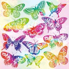 Napkin 33 Aquarell Butterflies Mix