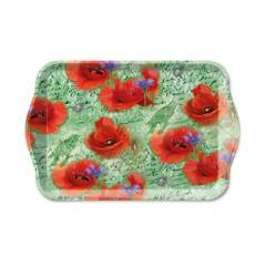 Tray Melamine 13X21cm Painted Poppies Green Nedsatt 50%