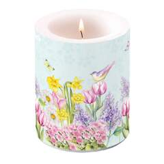 Candle Big Blooming Garden Turquoise