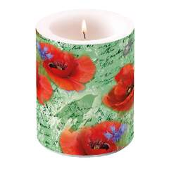 Candle Big Painted Poppies Green