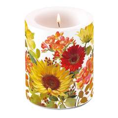 Candle Big Sunny Flowers Cream