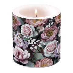 Candle Small Vintage Flowers Black