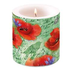 Candle Small Painted Poppies Green