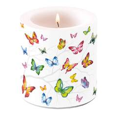 Candle Small Colorful Butterflies