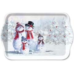 Tray Melamine 13X21cm Snowman With Hat