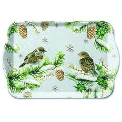 Tray Melamine 13X21cm Sparrows In Snow