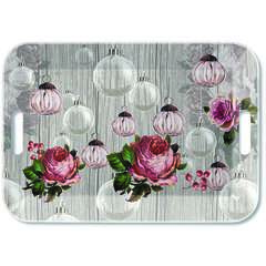 Tray Melamine 33x47cm Roses And Baubles