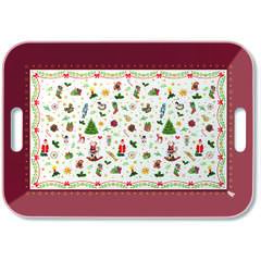 Tray Melamine 33X47cm Ornaments All Over Red