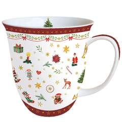 Mug 0.4 L Ornaments All Over Red
