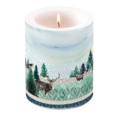 Candle Big Deer Winterscene